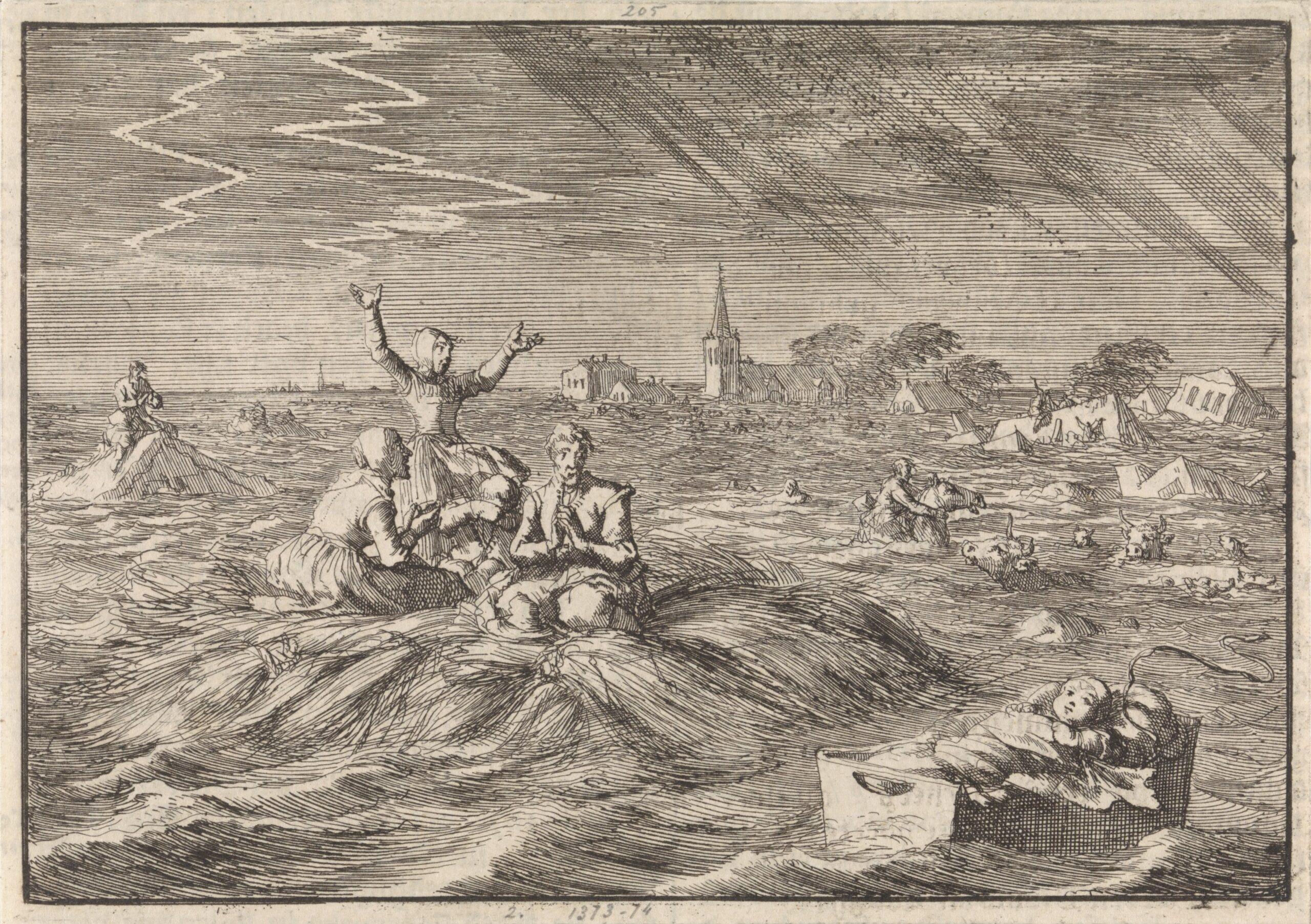 Prent van J. Luyken, 1702, ter illustratie van vloeden in 1682 en 1686 (Rijksmuseum Amsterdam).