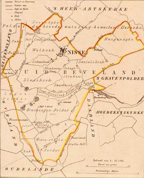 Kaart van de voormalige gemeente Nisse uit 1866. Uit Gemeente-Atlas van Zeeland door J. Kuyper (Zeeuws Archief, KZGW, Zelandia Illustrata).