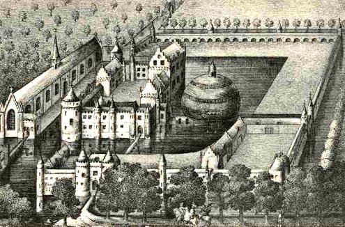 Afbeelding op prentbriefkaart van het kasteel Sandenburgh, naar een achttiende-eeuwse gravure naar de tekening van Isaac Hildernisse uit 1701 (Zeeuws Archief, collectie Zeeuws Genootschap, Zelandia Illustrata). Situatie ten tijde van de markies Maximiliaan van Bourgondië.