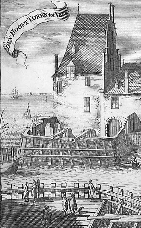 De Campveerse Toren, hier 'Den Hoofttoren' genaamd, zoals afgebeeld in de Nieuwe Cronyk van Zeeland van M. Smallegange, 1696 (Zeeuws Archief, collectie Zeeuws Genootschap, Zelandia Illustrata)