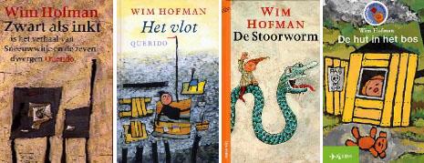 Collage van enkele boeken van Wim Hofman. (Catalogus Zeeuwse Bibliotheek)