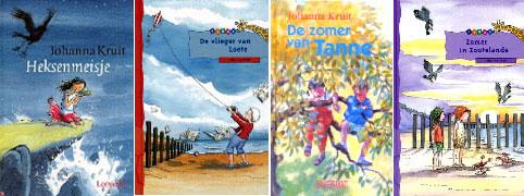 Collage van enkele boeken van Johanna Kruit. (Catalogus Zeeuwse Bibliotheek)