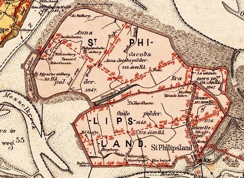 Sint-Philipsland met de namen van polders op een kaart uit de periode 1887-1890
