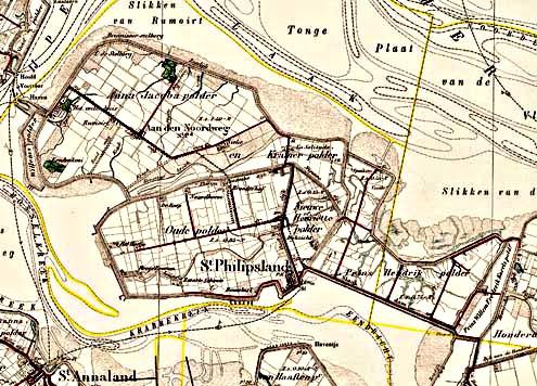 Sint-Philipsland, op blad 'Willemstad 3' van een stafkaart uit 1911