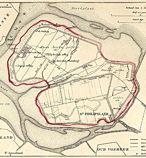 Kaart van de gemeente Sint-Philipsland, 1866 (Zeeuws Archief, KZGW, Zelandia Illustrata).