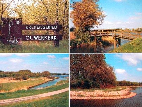 Het krekengebied van Ouwerkerk op een prentbriefkaart met vier foto's uit 1985