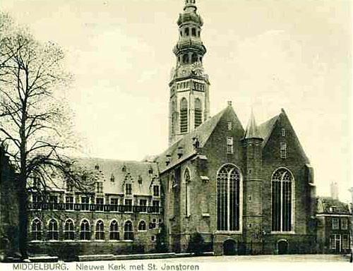 Gezicht op Nieuwe Kerk en Lange Jan, Middelburg