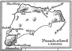 Paaseiland, uitsnede uit de kaart van de reis van Jacob Roggeveen (bijlage bij Zeeuwsch Genootschap der Wetenschappen, Archief, vroegere en latere mededeelingen voornamelijk in betrekking tot Zeeland, 1911).
