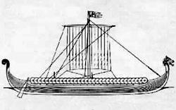 Tekening van het replica Vikingschip 'Hugin', Ramsgate, Verenigd Koninkrijk