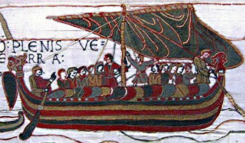 Detail van het tapijt van Bayeux, met de afbeelding van een schip uit de tijd van vervaardiging van het tapijt, eind elfde eeuw