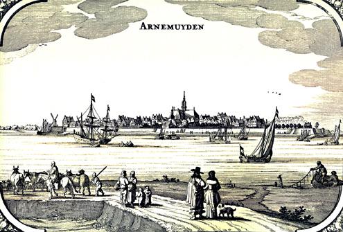 De stad Arnemuiden met op de voorgrond allerlei visserijactiviteiten, zoals afgebeeld in de 'Speculum Zelandiae' van Nicolaas Visscher, 1660
