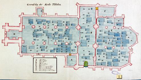 Deze achttiende-eeuwse plattegrond laat zien dat de Thoolse kerk bezaaid ligt met grafmonumenten (Zeeuws Archief, KZGW, Zelandia Illustrata).