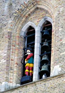 Jantje van Sluis in de klokkentoren van Sluis