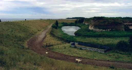Fort Rammekens vanaf de zeedijk gezien.