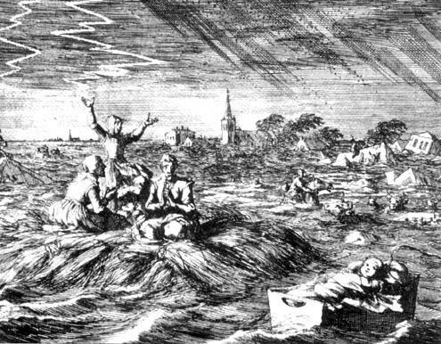 Prent van J. Luyken, 1702, ter illustratie van vloeden in 1682 en 1686