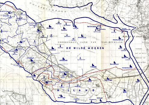 Kaart oostelijk Zuid-Beveland toen en nu
