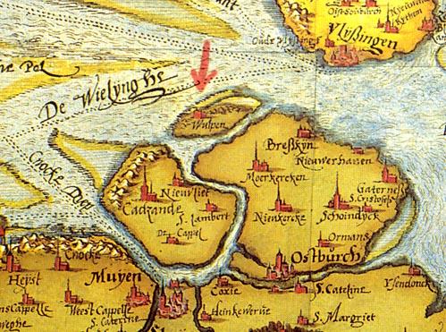 Wulpen en omgeving op de kaart van Chr. Sgrooten, 1573