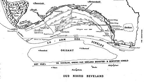 Kaart van het Zuidland van Schouwen, met Orizand (A.J.F. Fokker, Schouwen voor 1600, 1909)