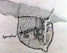 Plattegrond van Reimerswaal uit de Stedenatlas van Jacob van Deventer. (Zeeuwse Bibliotheek, Beeldbank Zeeland)