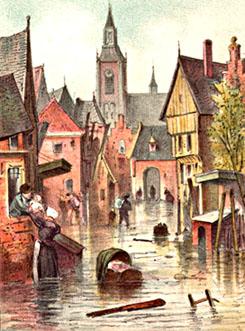 Kleurentekening van de overstroming van Reimerswaal