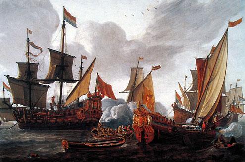 Schilderij: Het vertrek van Abraham Crijnssen naar West-Indië in 1666, tijdens deze tocht zou Crijnssen Suriname op de Engelsen veroveren