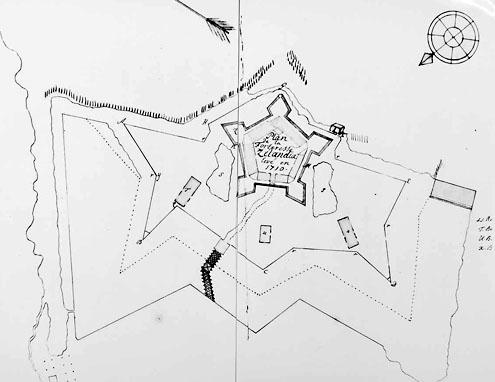 Tekening: Fort Zeelandia bij Paramaribo, tekening achttiende eeuw