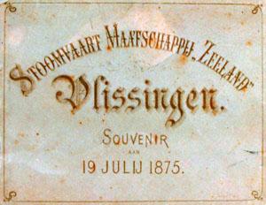 Tekening met beeldmerk stoomvaart maatschappij Zeeland, 1875