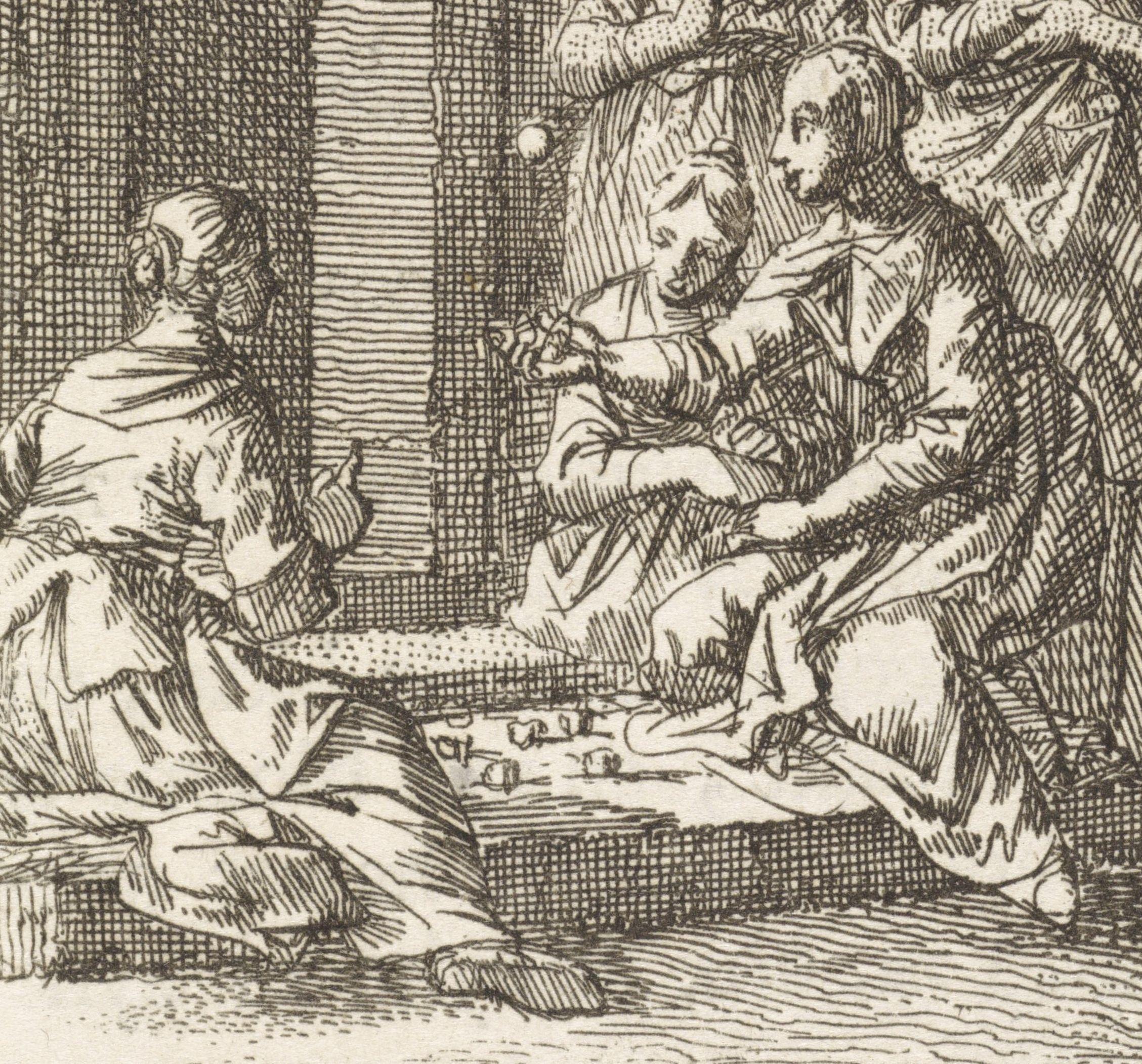 Drie meisjes spelen op de stoep het bikkelspel. Detail uit ets door Jan Luyken, 1712. (Rijksmuseum)