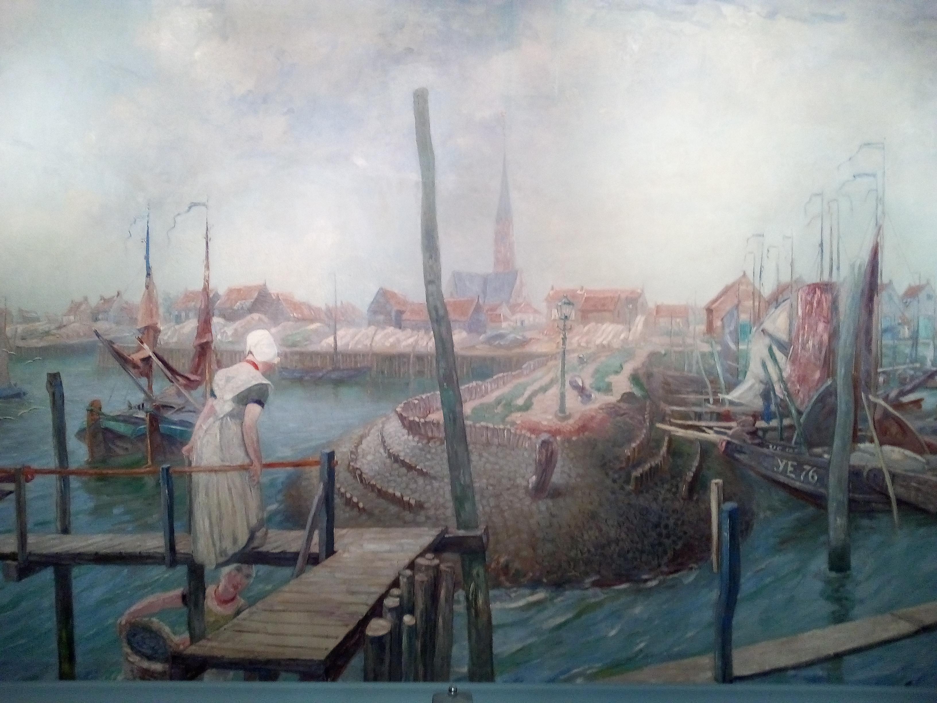 W.F.A.I. Vaarzon Morel, Panorama van de haven van Yerseke, 1913, olieverf op doek (250 x 600 cm), Oosterscheldemuseum, Yerseke.