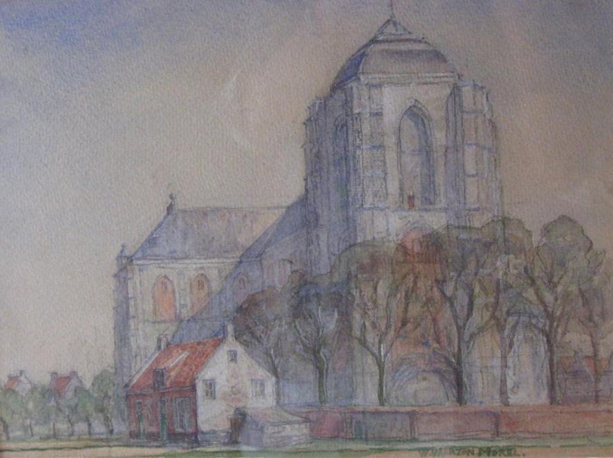 Willem Vaarzon Morel sr., Kerk te Veere, 1946, 27.5 x 37 cm, Museum Veere.