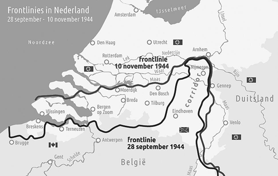Schouwen-Duiveland lag in de schaduw van het geweld van de grote geallieerde offensieven: Operatie Market Garden en de Slag om de Schelde. Na de landing in Normandië was alles erop gericht om de verbindingen naar het hart van Duitsland in bezit te krijgen. De haven van Antwerpen en de bruggen over de Rijn waren van groot belang. (Kaart: Museum de Burghse Schoole)