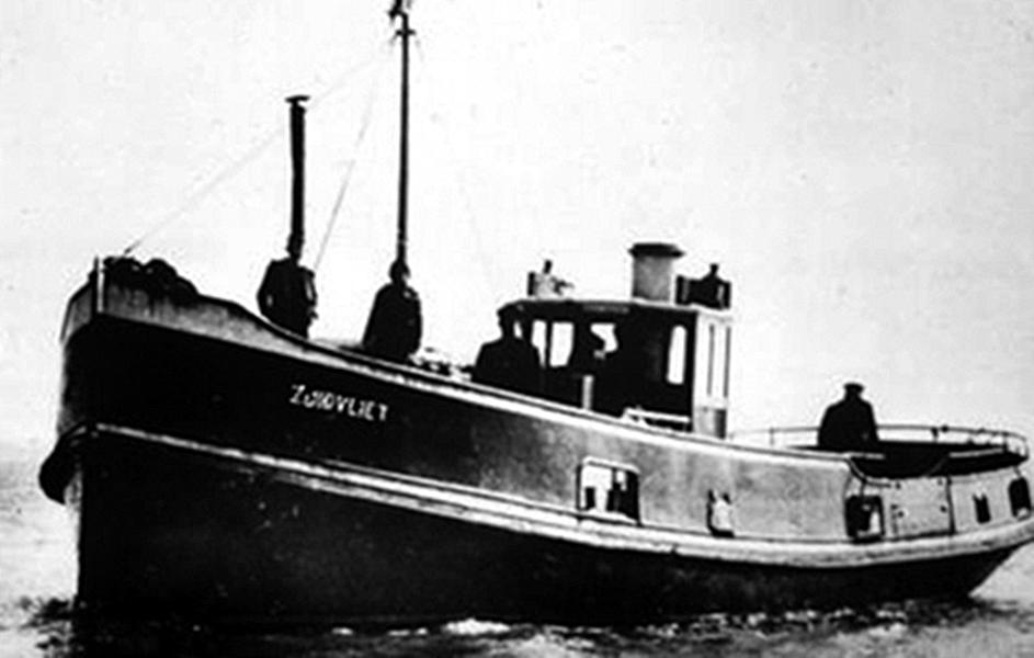 De Zuidvliet zoals het schip er in oorlogstijd uitzag (Museumhaven Zeeland).