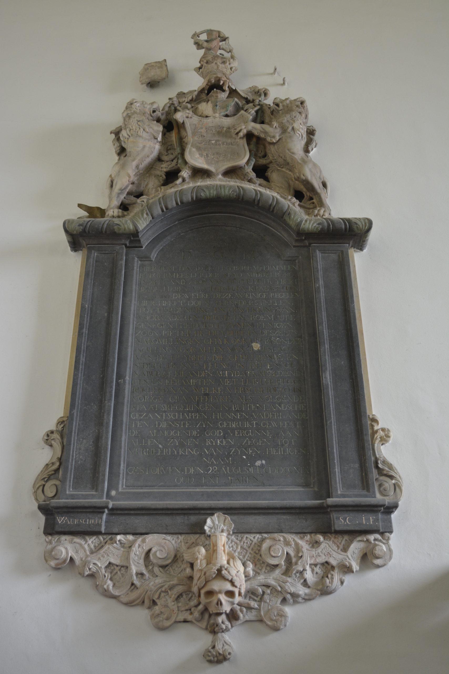 Tweede epitaaf in de kerk van Burgh, vervaardigd door Jan Pieter van Baurscheit de Jonge (foto Dennis de Kool).