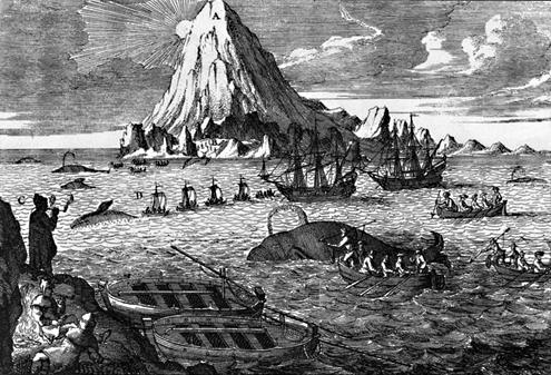 Walvisvangst door Nederlanders in de zeventiende eeuw met de Beerenberg op het eiland Jan Mayen op de achtergrond.