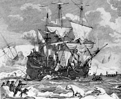 Enkele schepen liggen vast in het ijs bij Jan Mayen, 1633 (jachthollandia.nl)