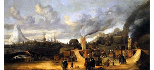 De traanovens roken volop. Op de achtergrond wederom de Beerenberg op het eiland Jan Mayen. Het zijn de ovens van de traankokerij van de Amsterdamse Kamer der Noordsche Compagnie. Schilderij door Cornelis de Man, 1639.