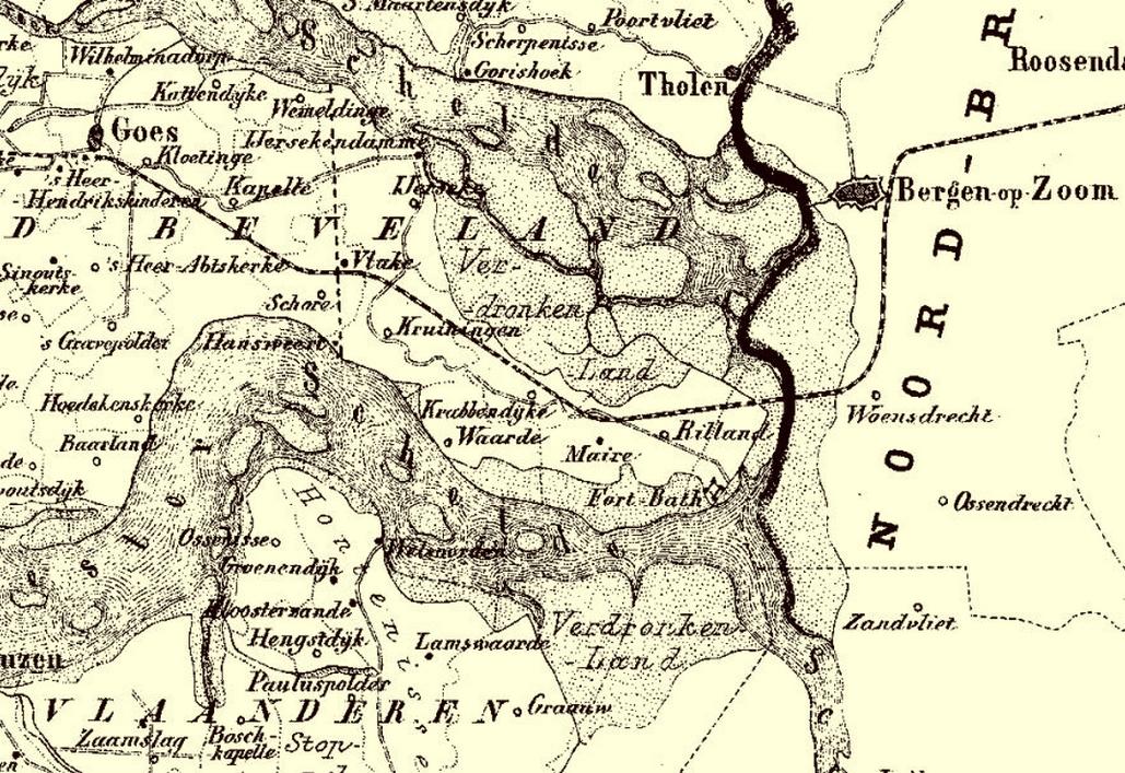 Spoorlijn tot Goes over de nieuwe Kreekrakdam, uit: <em>Gemeente Atlas</em> van J. Kuyper, 1865-1870.