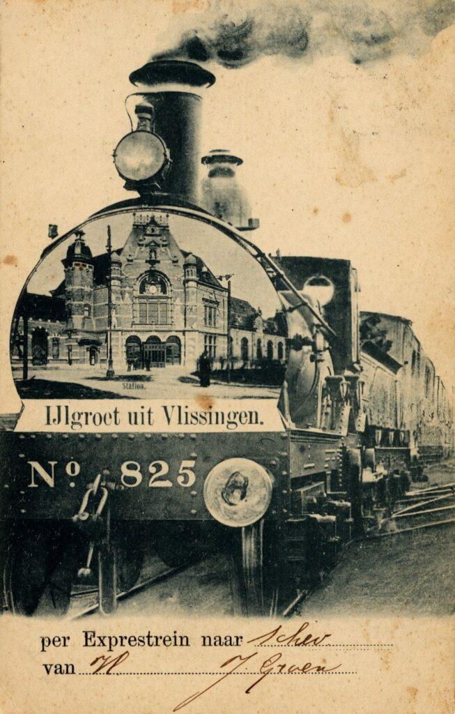 'IJlgroet uit Vlissingen', met op de locomotief een afbeelding van het station uit 1894 (Zeeuws Archief).