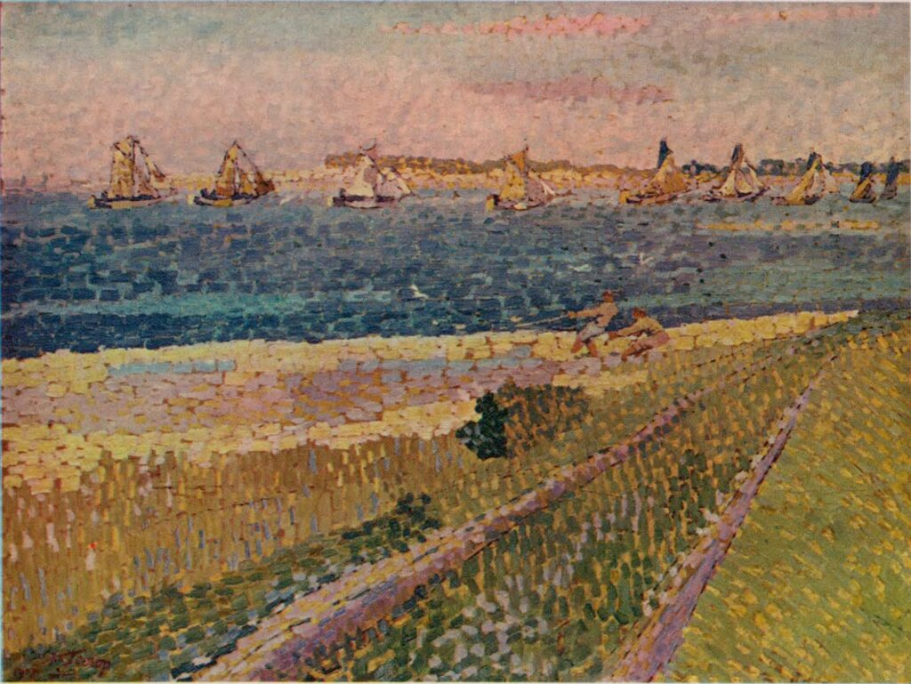 Vissersvloot op het Veersche Gat, gezien vanaf Noord-Beveland. Schilderij Jan Toorop, 1907.