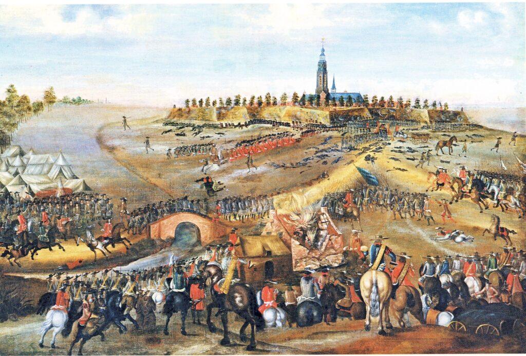 De 'berenning van Aardenburg' door de Fransen, 1672. Anoniem werk (Belfort, Sluis).