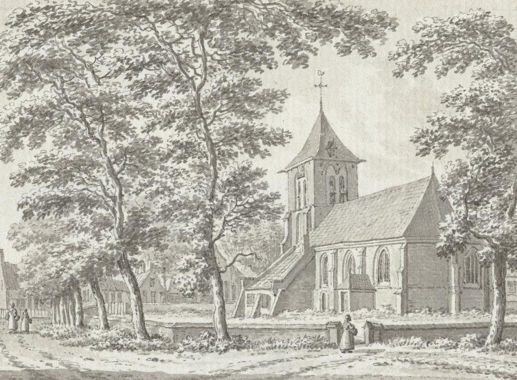 Kerk en ring van Biggekerke, tekening door Jan Bulthuis, 1791 (Rijksmuseum Amsterdam).