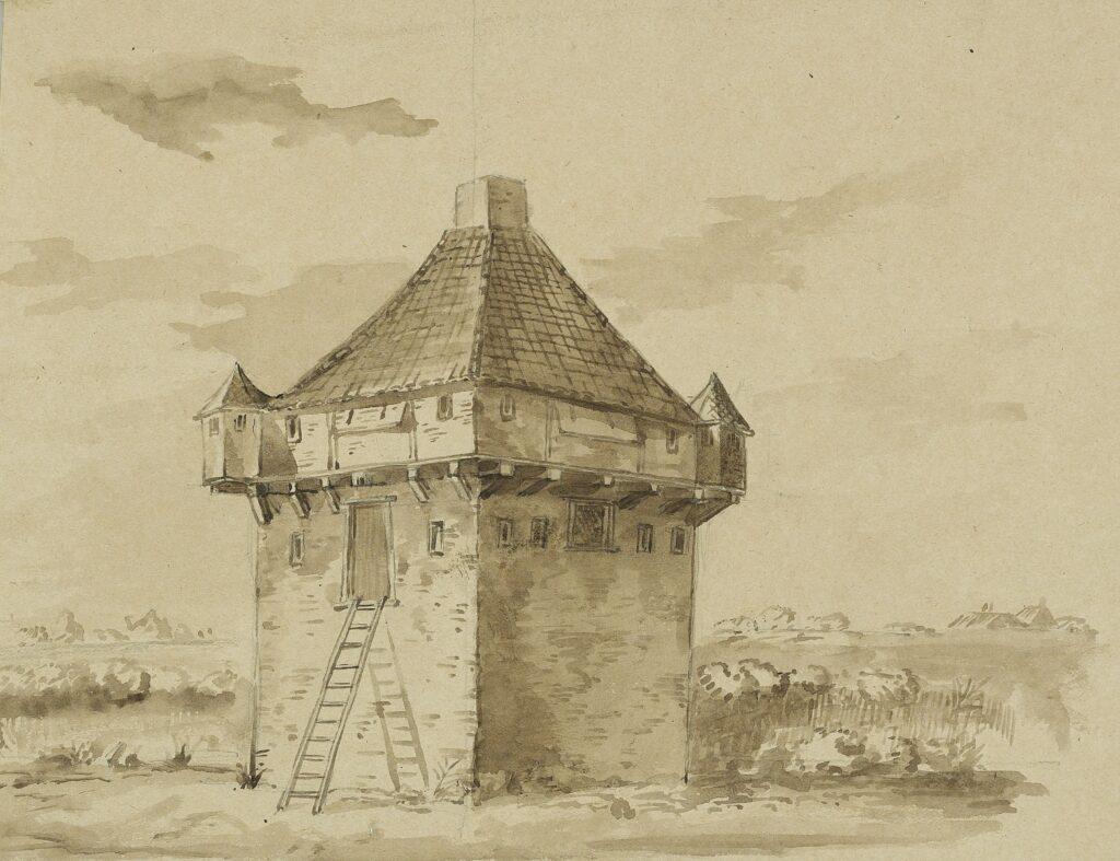 Stenen wachttoren van de Kruisdijkschans. Tekening uit 1692.