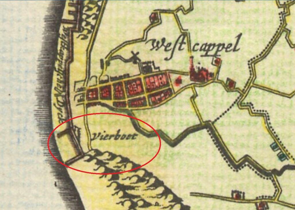 Vuurboet bij Westkapelle (Visscher-Romankaart van Zeeland, 1656).