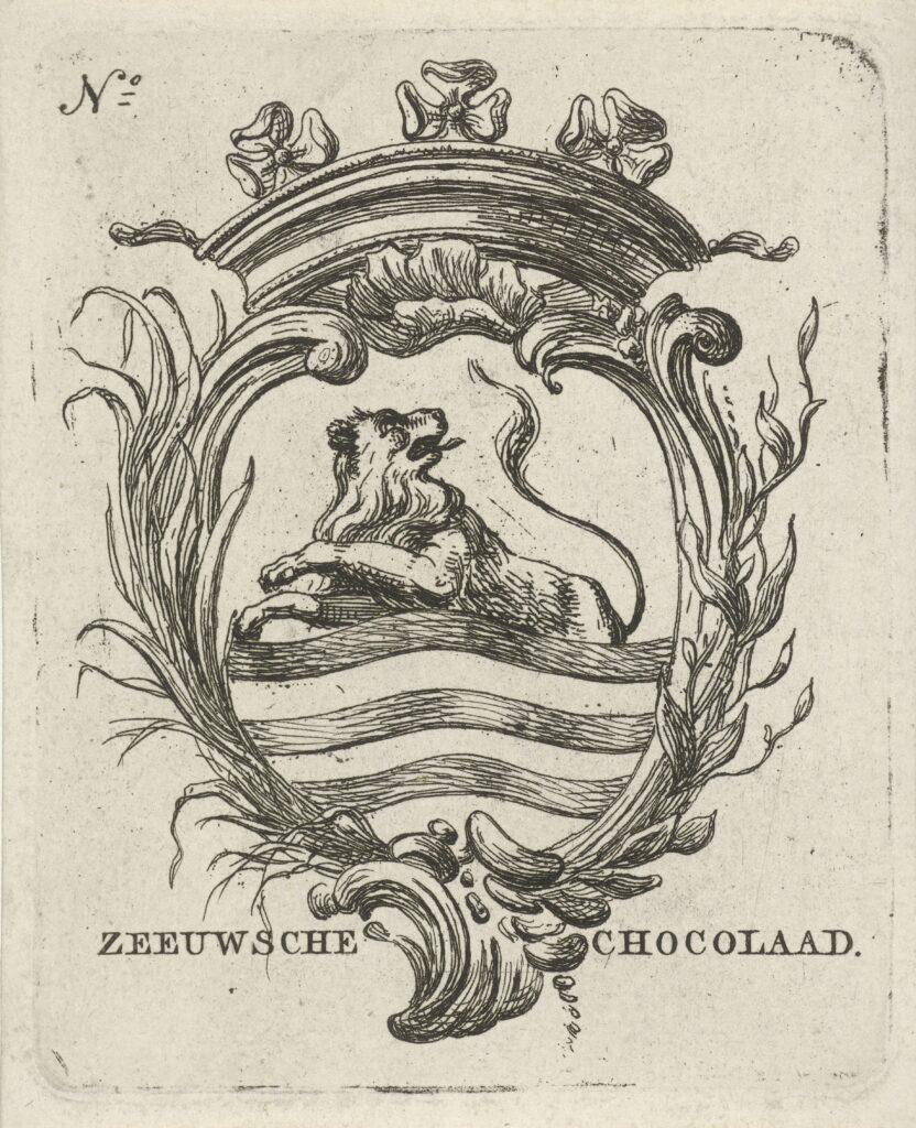 Ontwerp voor een wikkel voor Zeeuwsche Chocolaad door de Amsterdamse prentenmaker Hermanus Fock (1766-1822) (Rijksmuseum Amsterdam).