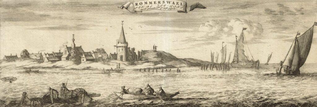 De stad Reimerswaal, zoals het eens was, in Smalleganges Nieuwe Cronyk van Zeeland uit 1696 (Zeeuws Archief, KZGW, Zelandia Illustrata).