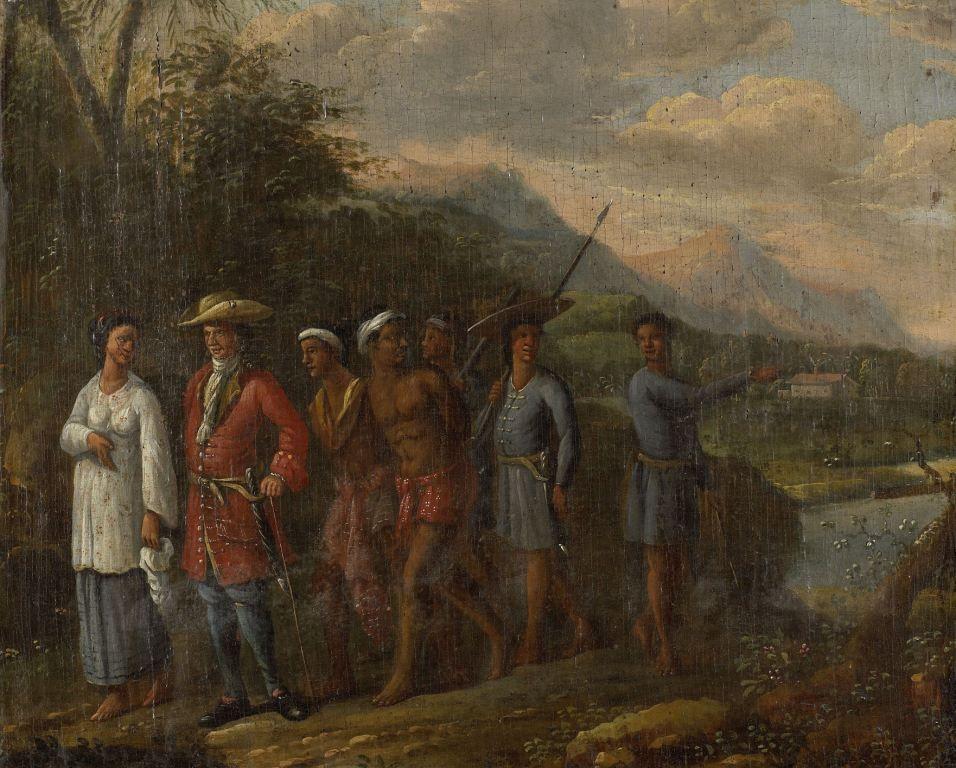 Koopman met slaven in West-Indisch landschap, 1700-1725. Anonieme schilder. (collectie Rijksmuseum)