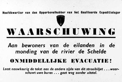Pamflet waarin de geallieerden de bewoners van Walcheren waarschuwen om weg te gaan. De pamfletten werden in oktober 1944 boven Walcheren uitgeworpen. (Zeeuwse Bibliotheek, Beeldbank Zeeland)
