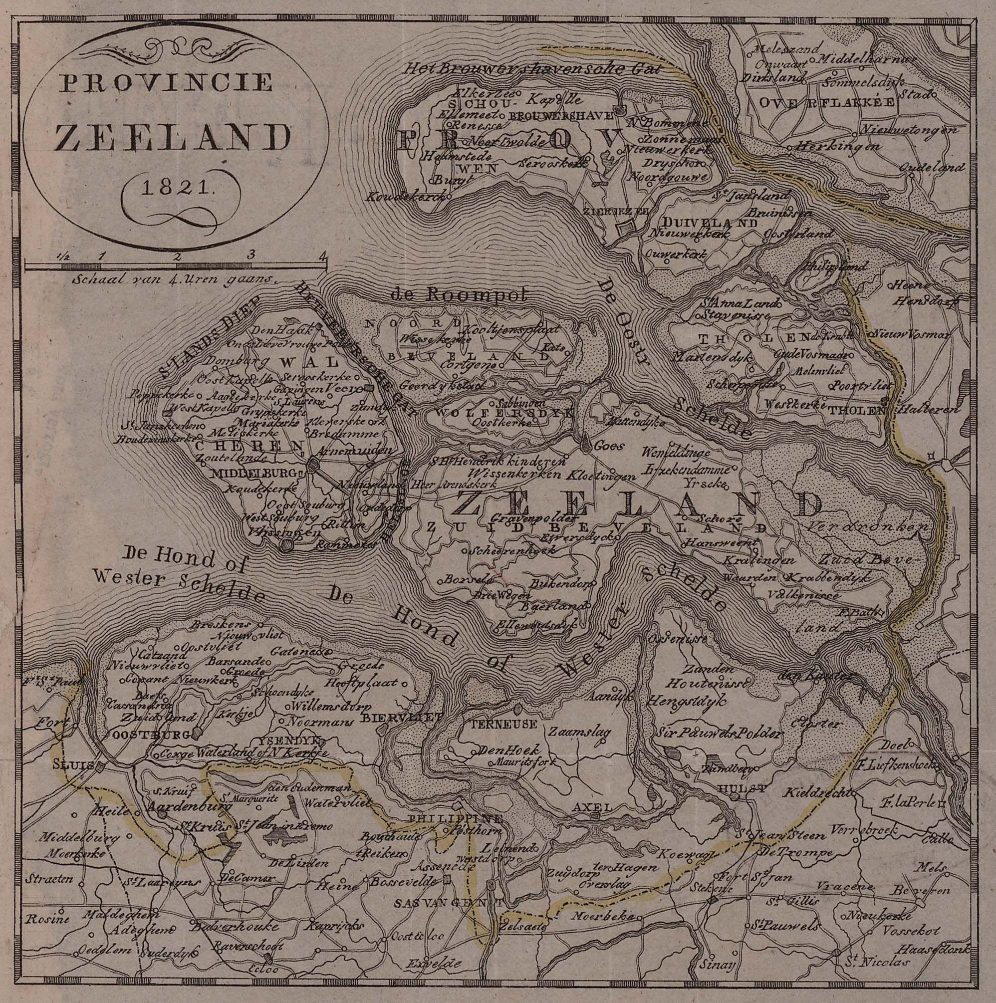 Kaart Provincie Zeeland, 1821. Afbeelding uit het Zeeuws Archief