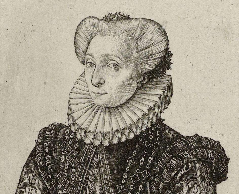 Portret van Charlotte de Bourbon door Hendrick Goltzius, 1581. (Collectie Rijksmuseum)