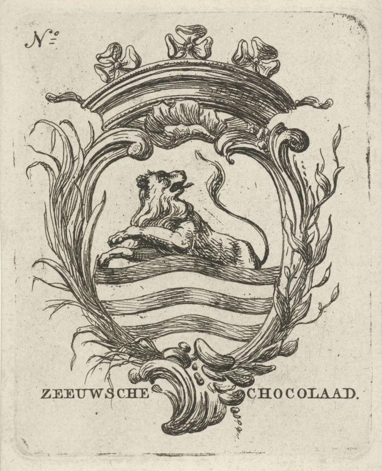 Ontwerp voor een wikkel voor Zeeuwsche Chocolaad door de Amsterdamse prentenmaker Hermanus Fock (1766-1822). (Collectie Rijksmuseum)